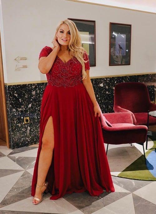 Vestido de festa plus size: 15 vestidos longos para casamentos e formaturas | Plus size red dress, Plus size long dresses, Plus size homecoming dresses