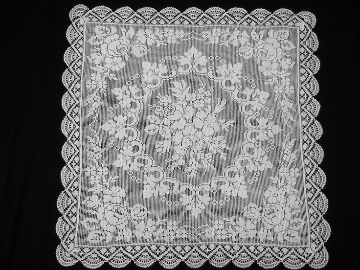 Vintage Square White Filet Lace Tablecloth Roses Handcrocheted by VintageHomeStories on Etsy #Vintage #Crochet #lace #WhiteLace #Tablecloth #frenchDecor #Decor #Filet #Curtain