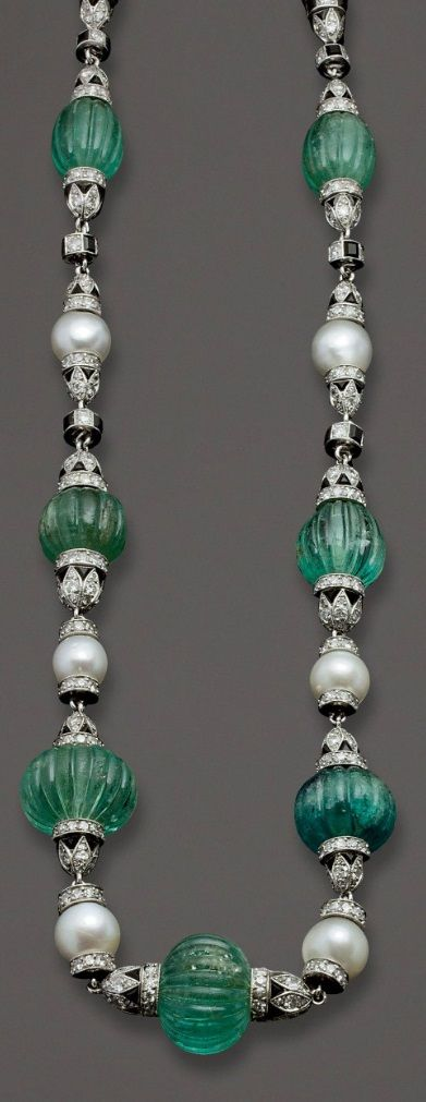 Janesich-Art Deco emerald, pearl, onyx and diamond necklace, French
