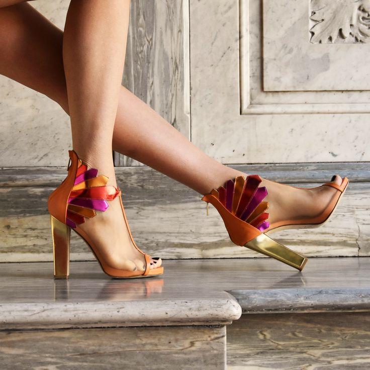 Rhea orange, heels,  mirror leather, nappa leather, golden steel heel , SS17 Lamperti Milano Drop1