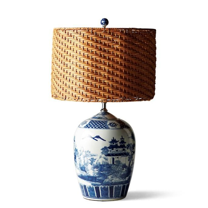 Blue And White Ming Table Lamp With Wicker Shade Frontgate In 2020 White Ceramic Lamps Blue And White Lamp Blue Lamp