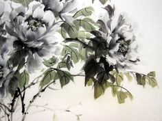 Japanese Ink Painting, Sumi-e, Suibokuga,Asian art, Rice Paper painting, Large    Black Peonies painted with Sumi - ink and Gansai (Japanese