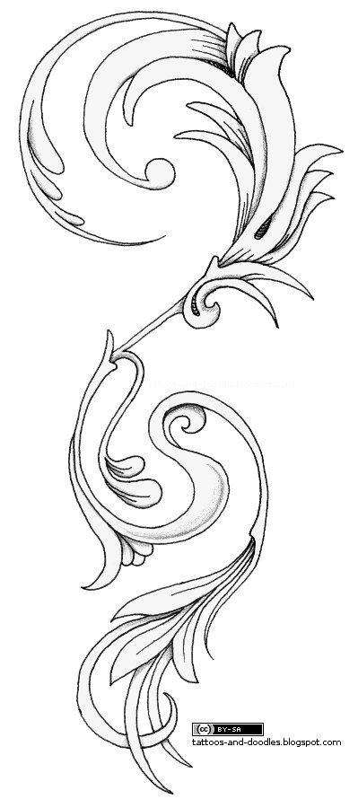 flourish_vertical_tattoo.jpg 399×900 pixels