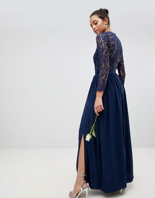 75058a8c28a0 Club L High Neck Crochet Lace Maxi Dress With Long Sleeves | dresses ...