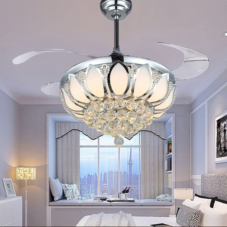 (399.00$)  Buy here - http://ainh6.worlditems.win/all/product.php?id=32669899631 - Modern Ceiling Fan Crystal Ventilador De Teto Remote Control With Lights Invisiable LED  Folding Ceiling Fan Dining Room Lamp