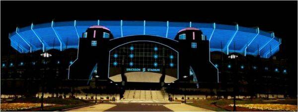 Ericson Stadium (now Bank of America Stadium) in uptown Chatlotte at night in 1996.