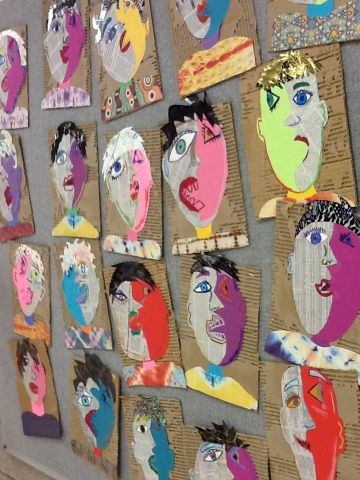 love the ripped cardboard background! Art at Becker Middle School. This teacher has shared incredible lessons and resources!