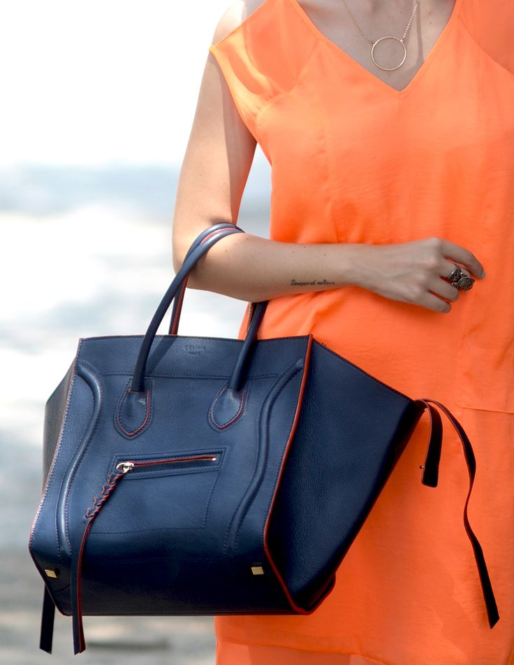 Celine phantom luggage bag with neon details | Handbags ...