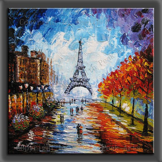 original painting,modern canvas painting for home decor,handmade,framed,ready to hang,  impasto palette knife painting Paris Eifel Tower
