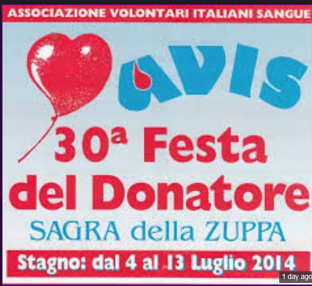 Festa del Donatore e Sagra della Zuppa - Blood Donor Festival and Soup Fair, July 11-13, 2014, in Stagno (Collesalvetti  -Livorno), Via Roma, 5 minutes from Camp Darby;  food stands featuring typical food stands featuring traditional Tuscan specialtiesopen at 7:30 p.m.; live music and ballroom dancing start at 9:15 p.m.;  bingo, magic shows and carnival rides for children;  fireworks on July 13 at midnight.