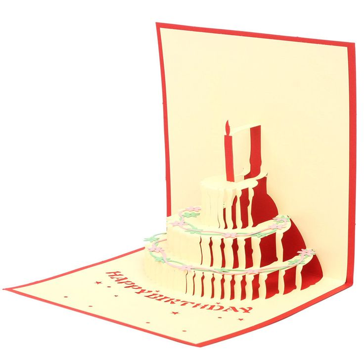 1 ШТ. Ручной Киригами Оригами 3D Приветствие Всплывающие Красочный Торт Ко Дню Рождения Карты Летию Со Дня Рождения Пригласительный Билет Друзей Подарок