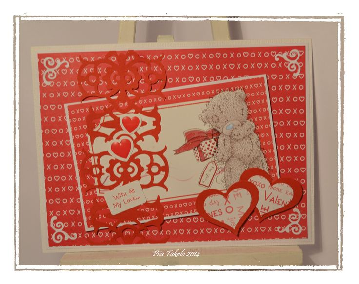 Valentine card with Fiskars AdvantEdge and heart shaped Squeeze punches. Made by Ambassador Piia Takalo