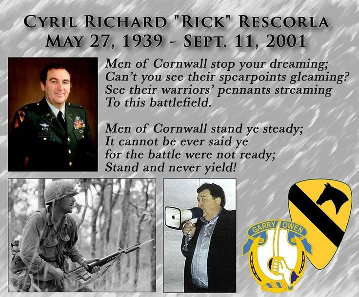 "#1stCavalryDivision ............ ""As we pause today to remember all of those who lost their lives on this tragic day, 13 years ago, members of the First Team keep a special place in their hearts for the memory of Cyril Richard ""Rick"" Rescorla.  Called, ""the best platoon leader I ever saw"" by Lt. Gen. Hal Moore, Rescorla was a member of 2nd Battalion 7th U.S. Cavalry Regiment - Garryowen during the Battle of Ia Drang."" ...."