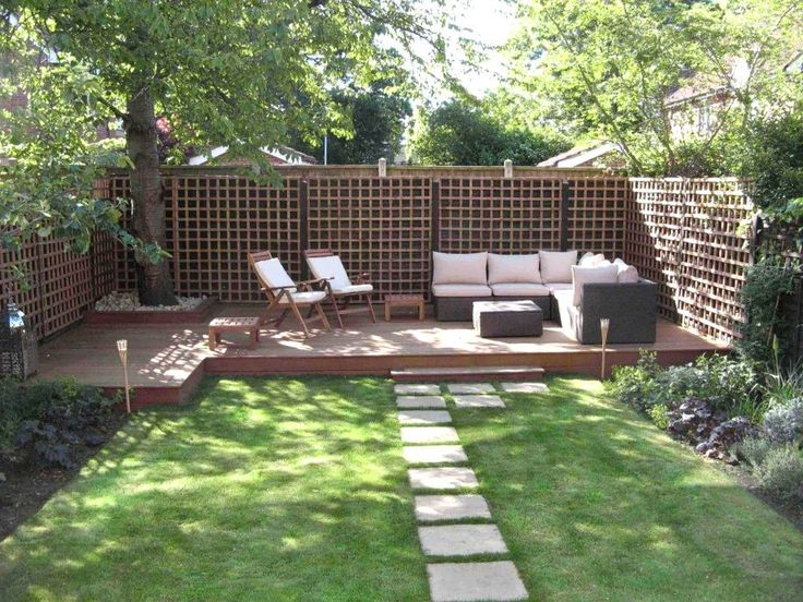 garden and patio backyard landsping house design with concrete stepping stones plus deck and patio with l rattan sofa with white cushion and ottoman plus - Deck And Patio Design Ideas