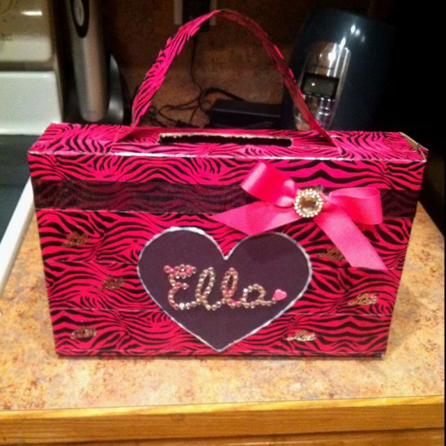 Valentine's Day box/ purse made from cereal box(: (I love that this has Ella's name on it!!)