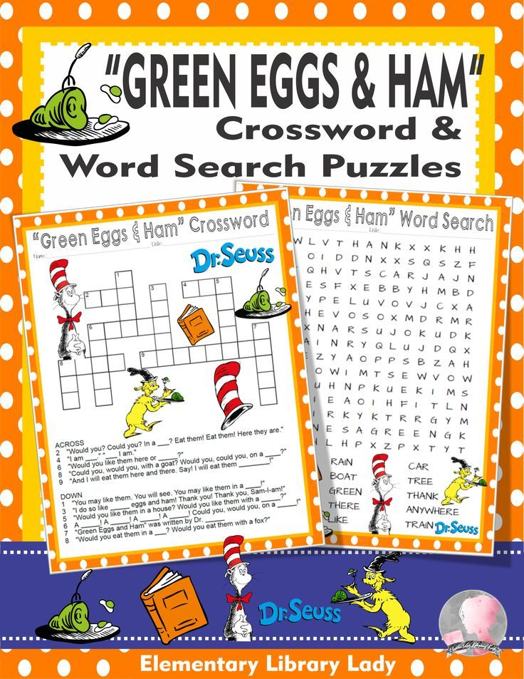 Green Eggs and Ham Activities Dr Seuss Crossword Puzzle  Word