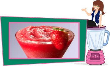 Slammin' Slimmed-Down Strawberry Daiquiri Recipe | 121 calories....One 2-serving packet (about 1 tsp.) sugar-free strawberry powdered drink mix;   1 1/2 oz. white rum; 1/2 oz. lime juice; 3 frozen unsweetened strawberries, slightly thawed; 1 cup crushed ice or 5 - 8 ice cubes Hungry Girl TV Show