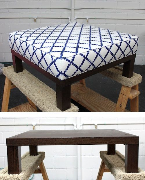 Ottoman DIY - Turn a cheap end table into a padded ottoman. Full  Step-by-Step Tutorial. From Design Sponge | Decorating Ideas | Pinterest |  Ottomans, ...