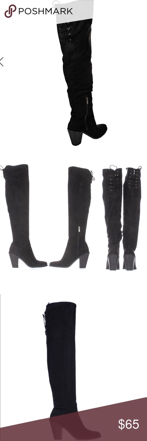 """Jessica Simpson Over The Knee Boots •• NEVER WORN•• In perfect condition with no scuffs or marks••  • Round toe over-the-knee boot • Inside zip closure • Stacked block heel • Lace-up detail at the back • Cushioned insole • Traction outsole • Fabric: Suede • Heel height: 3.75"""" • Shaft height: 18.25"""" • Width: medium • Care: wipe with soft, damp cloth • PRICE FIRM in regards to major discount Jessica Simpson Shoes Over the Knee Boots"""