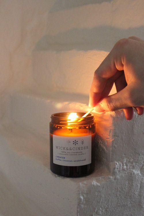 Wick && Cinder // Winter soy wax candle {coffee; cinnamon; sandalwood}