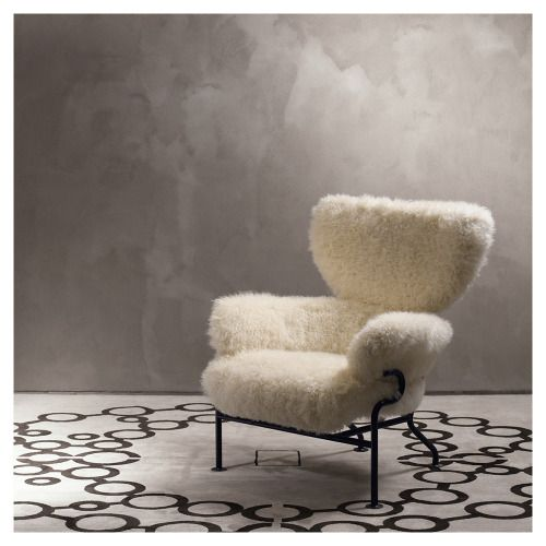 styletaboo:  Franco Albini and Franca Helg - Tre Pezzi PL19 armchair for Poggi [steel, mongolia fur, 1959]