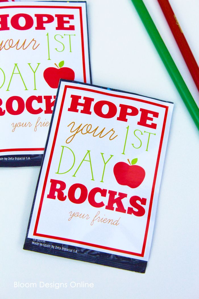 First Day of School Rocks!- Make these little treats with our free printable for…