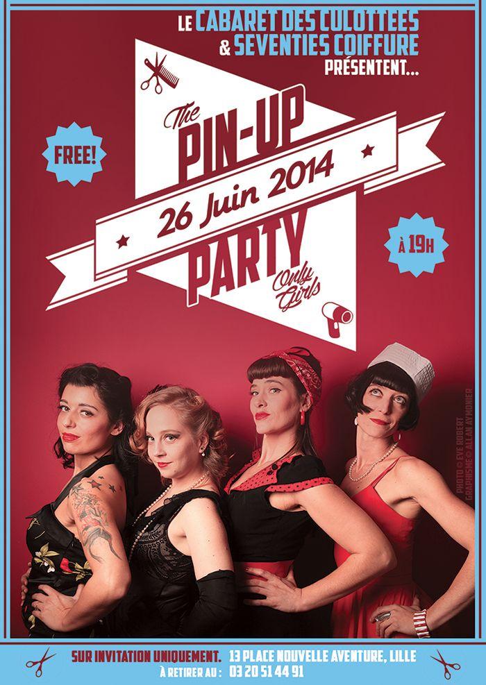 Création d'un flyer pour la soirée Pin-Up Party du Cabaret des Culottées et le Seventies, salon de coiffure vintage, à Lille.  Photo© E...  #burlesque #cabaret #vintage #pinup