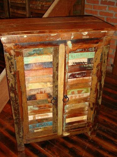 Reclaimed Boat Wood Shutter Cabinet Server Narrow Buffet Hall Storage