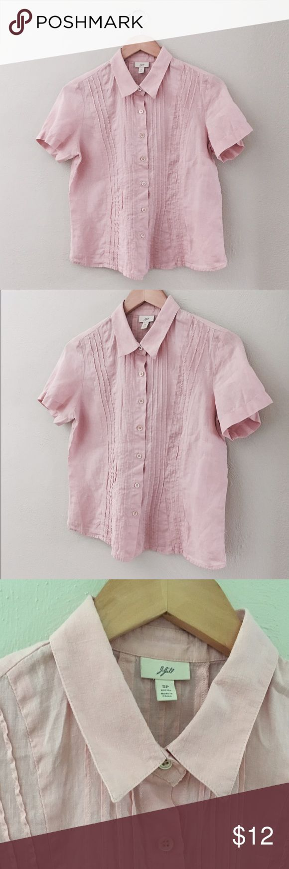 "J. Jill Linen Top - S or M Blush pink color, marked size Petite Small, but may also fit a Medium. Length 23"", chest 19.5"" laid flat, shoulders 15.5"". Natural looking slub linen fabric. J. Jill Tops Button Down Shirts"