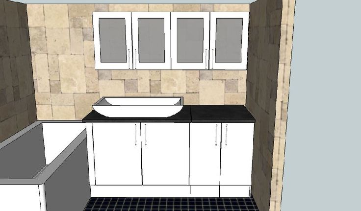 Design created by Dimension Cabinets, bathroom design with hidden washing machine cupboard on the right.