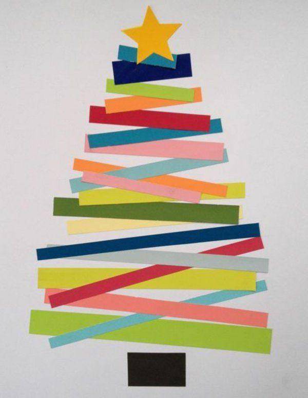 weihnachtskarten basteln tanne farbiges papier streifen