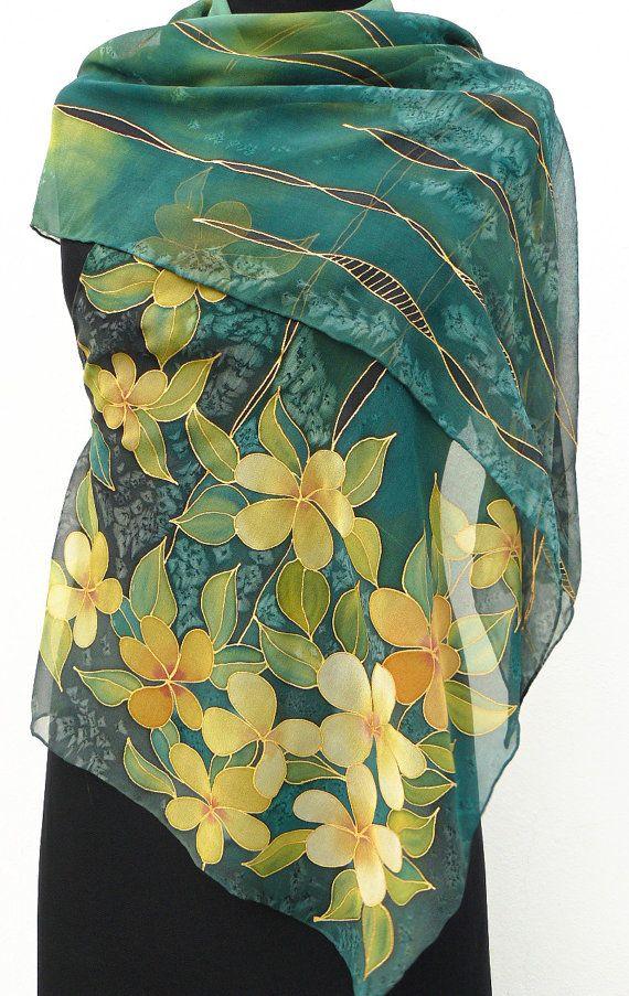 Dark green silk scarf chiffon yellow flowers gold ivy by Irisit