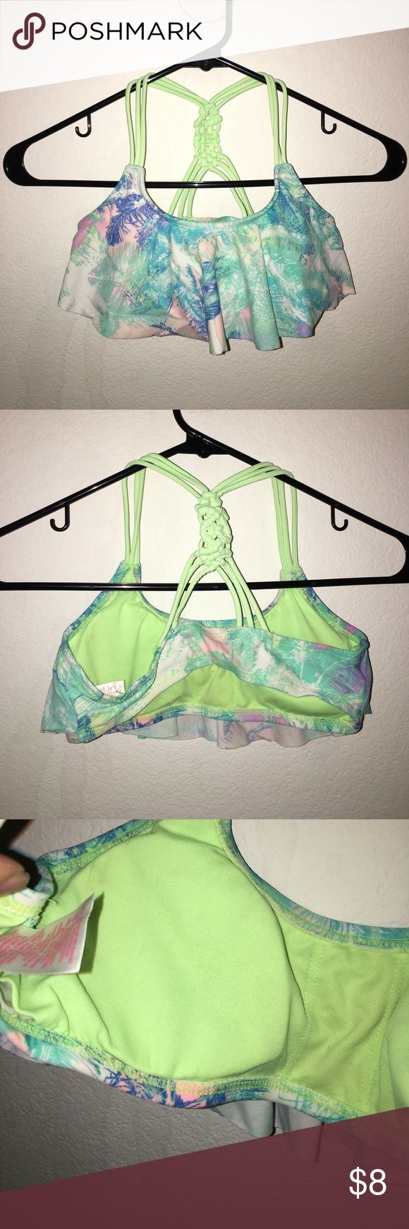 Girls Swim Top Worn a couple times, pale blue and white bandeau swim top. The straps are short, recommended for younger women Xhilaration Swim Bikinis