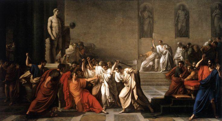 Gaio Giulio Cesare, Data di morte 15 marzo 44 a.C. - Alle Idi di marzo del 44 a.C. Giulio Cesare venne ucciso durante una seduta del Senato di Roma.   Fu assassinato dai nemici a cui aveva concesso la sua clemenza, dagli amici a cui aveva concesso onori e gloria, da coloro che aveva nominato eredi nel suo testamento. Nella foto La morte di Giulio Cesare – Vincenzo Camuccini (1798)