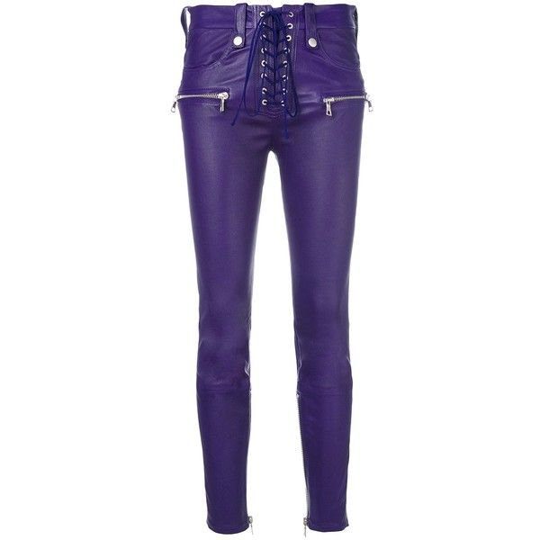 Unravel Purple Skinny Biker Pants ($1,815) ❤ liked on Polyvore featuring pants, capris, purple, blue skinny pants, skinny cropped trousers, biker pants, purple skinny pants and cropped pants