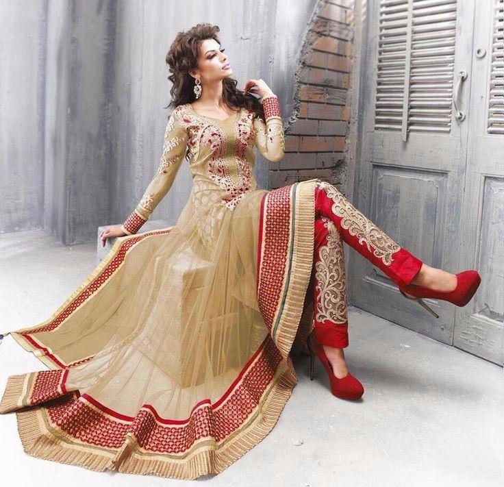 Wonderful Coffee colored Party Wear Anarkali Suit