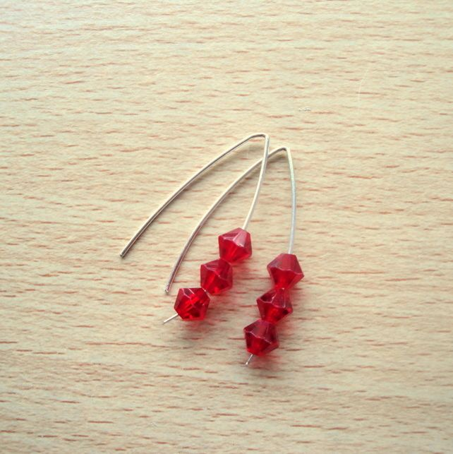 Sterling Silver with Red Swarovski Crystals Earrings