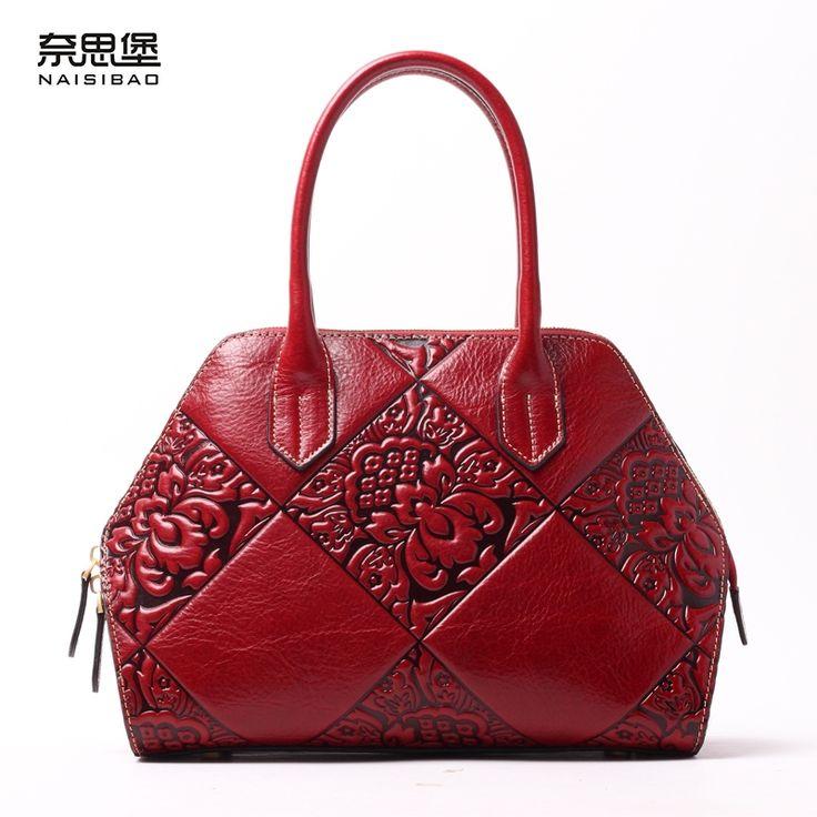 110.61$  Buy now - http://aliqne.shopchina.info/1/go.php?t=32749270041 - High quality Chinese style Genuine Leather Vintage flower pattern name brand handbag fashion Shoulder Messenge women bag  #aliexpressideas