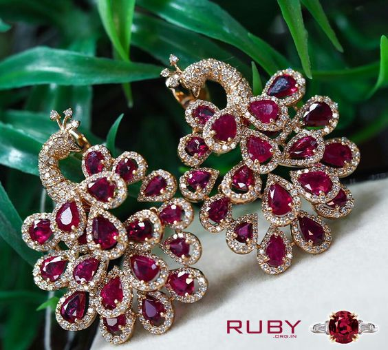 Beautiful Peacock styles ruby stone earrings you can gift to your loved ones