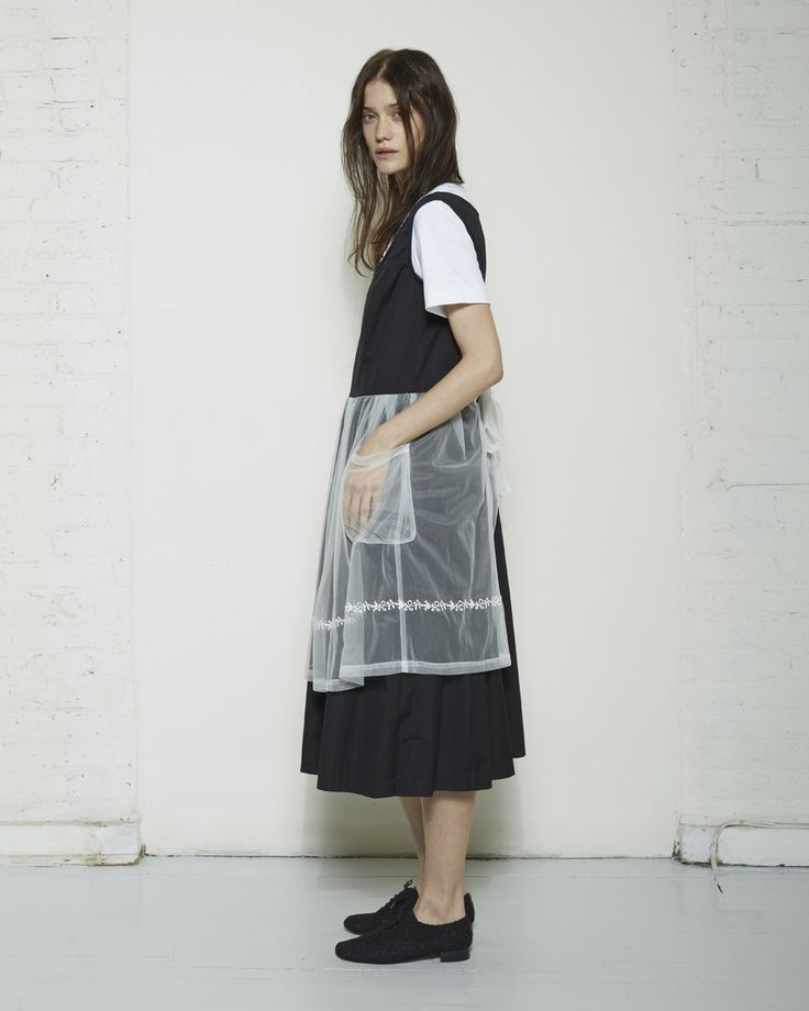 Comme des Garçons Shirt Girl / Embroidered Apron Dress | Black and white | Uniform layering | Neat