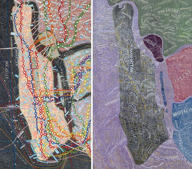 NYC transit (left) and Manhattan at night (right) by the inimitable Paula Scher