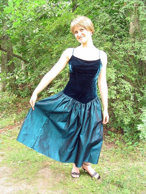 Upcycled Prom Dress Teal Formal Modern Size 8 Small by bytheway, $100.00