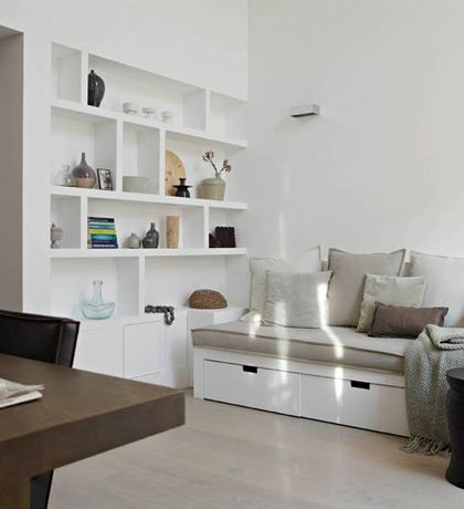 white living room design and modern furniture