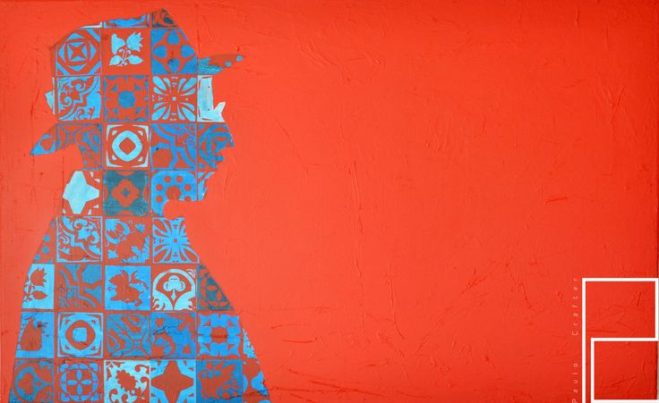 """Painting """" Poptugal series – Fernando Pessoa"""" by Paulo Crafter Mixed media, stencil and acrylic on canvas. 145x90 cm"""