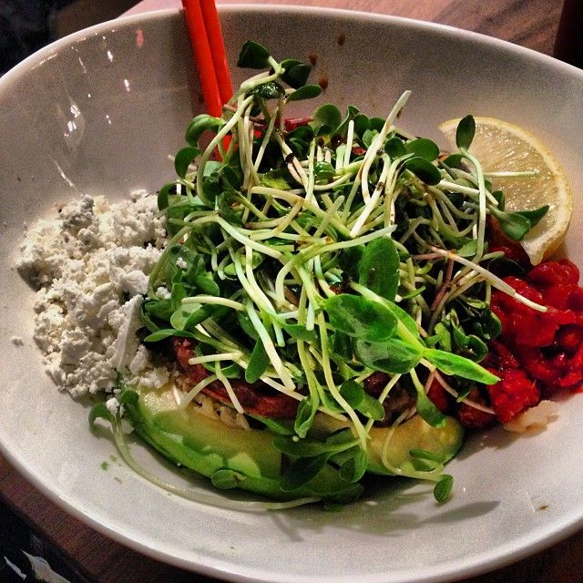 My favorite vegetarian restaurant in the city-finally at yonge/eg. I love the energy bowl with extra sauce.