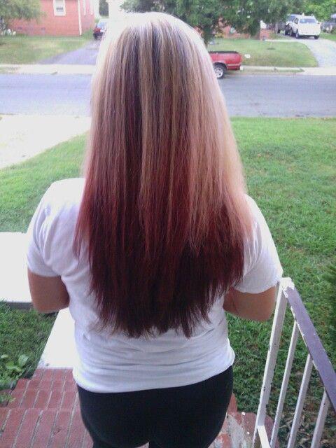 Blonde at the top burgundy red underneath | Beauty | Pinterest | Blondes, Burgundy blonde hair ...