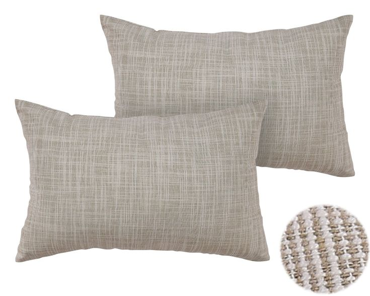 Deconovo Cotton Linen Pillow Covers Woven Stripe Cushion Covers Pattern Throw Pillow Cases for Sofa 12 x 18 Inch Light Taupe and White Melange 1 Pair