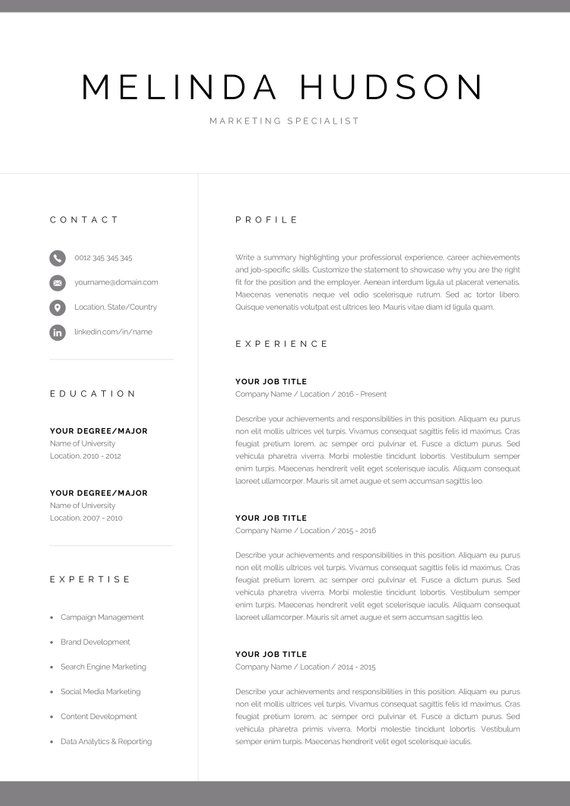 Modern Resume Template for Word & Mac Pages | Professional 1 ...