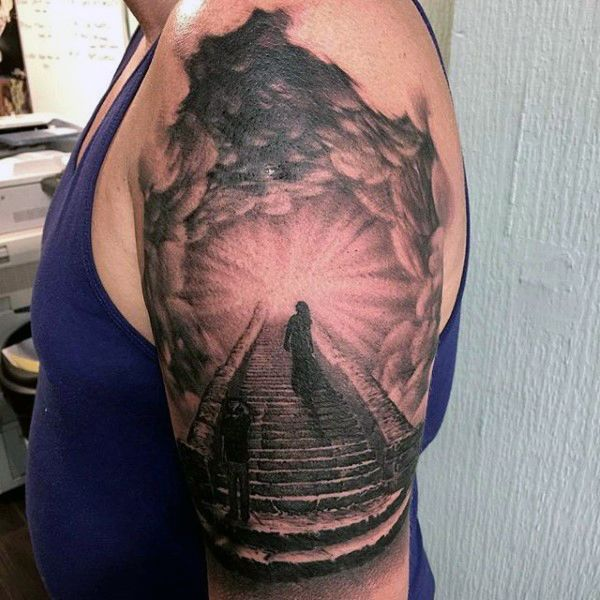The 25 best stairs to heaven tattoo ideas on pinterest for Stairway to heaven tattoo chest