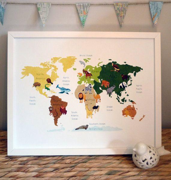 World Map: Map of the World Animal Illustration Poster Print